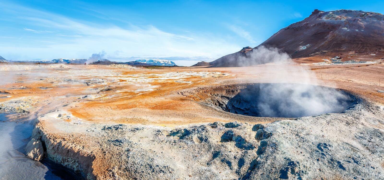 Geothermal field of Hverir, unique wasteland with pools of boiling mud, hot springs and hissing chimneys, Myvatn and royalty free stock photos