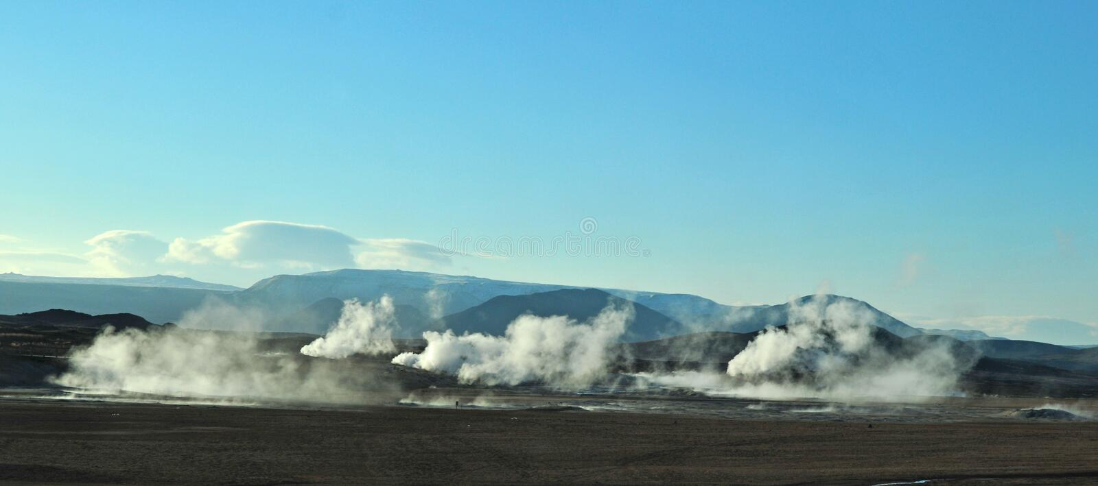 Geothermal. Heat steam in Iceland stock image