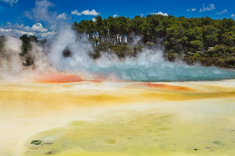 Geothermal Lake Called Champagne Pool at Wai-O-Tapu Geothermal Area near Rotorua, New Zealand. Oceania stock photos