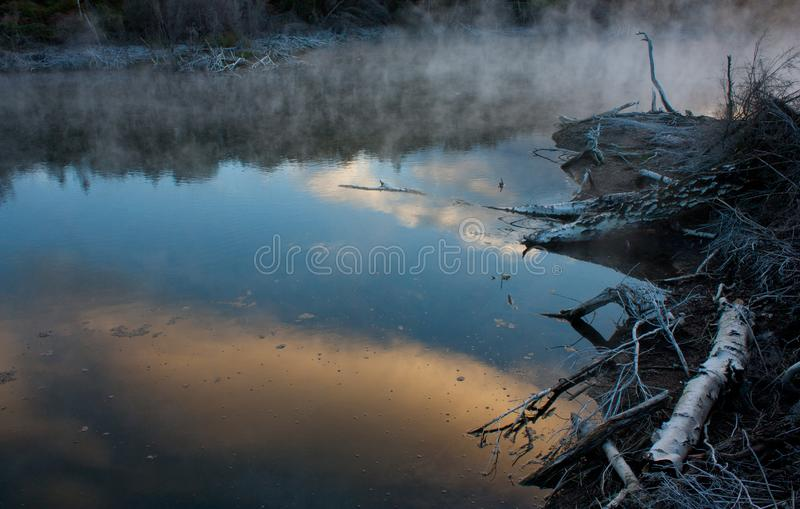 A geothermal lake in the Kuirau Park in Rotorua in New Zealand stock images