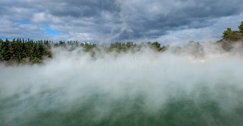 Geothermal lake in Kuirau park in Rotorua, New Zealand. Lake and forest with fog stock image
