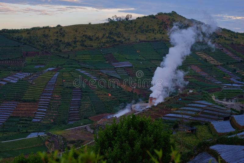 The geothermal in Dieng highland. The geothermal near Dieng fields stock images