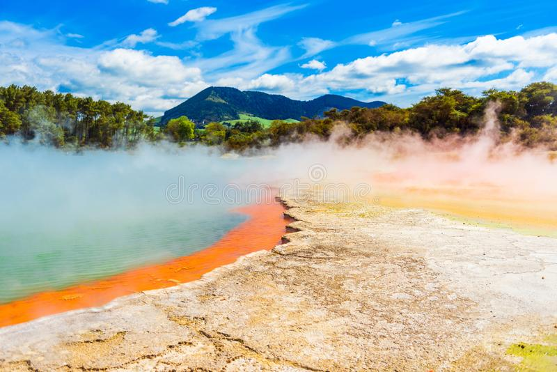 Geothermal pools in Wai-O-Tapu park, Rotorua, New Zealand stock photo