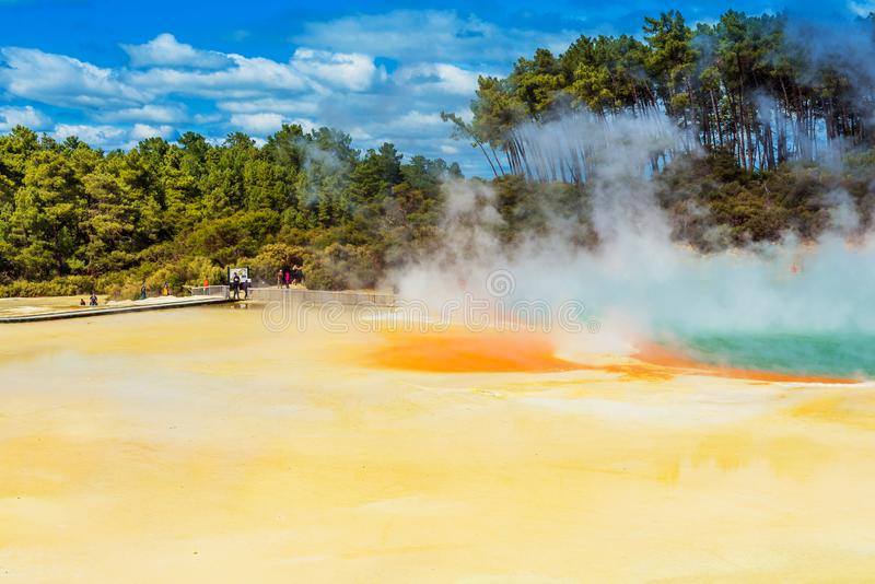 Geothermal pools in Wai-O-Tapu park, Rotorua, New Zealand. Copy space for text.  royalty free stock image