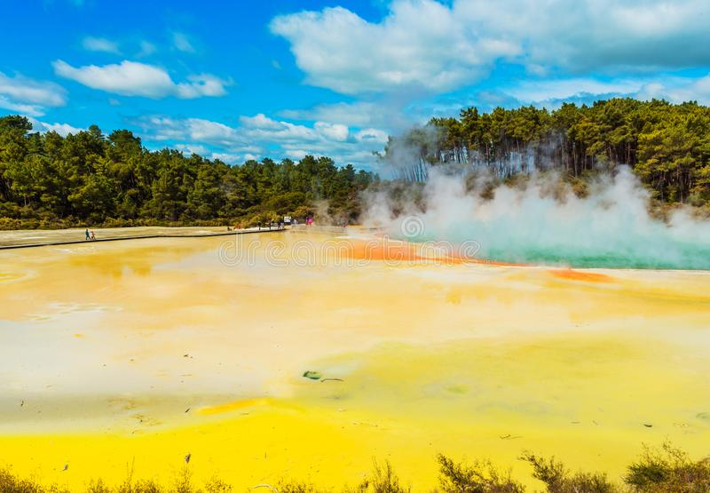 Geothermal pools in Wai-O-Tapu park, Rotorua, New Zealand royalty free stock images