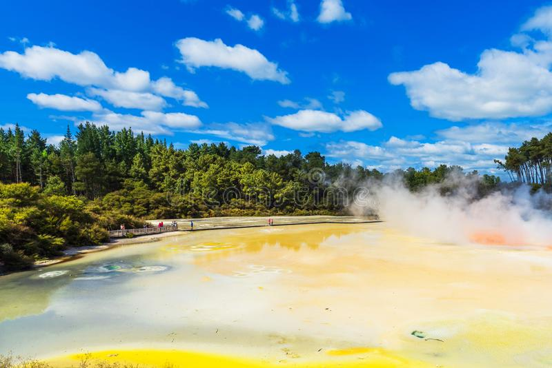 Geothermal pools in Wai-O-Tapu park, Rotorua, New Zealand. Copy space for text royalty free stock photo