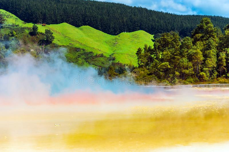 Geothermal pools in Wai-O-Tapu park, Rotorua, New Zealand. Copy space for text stock image