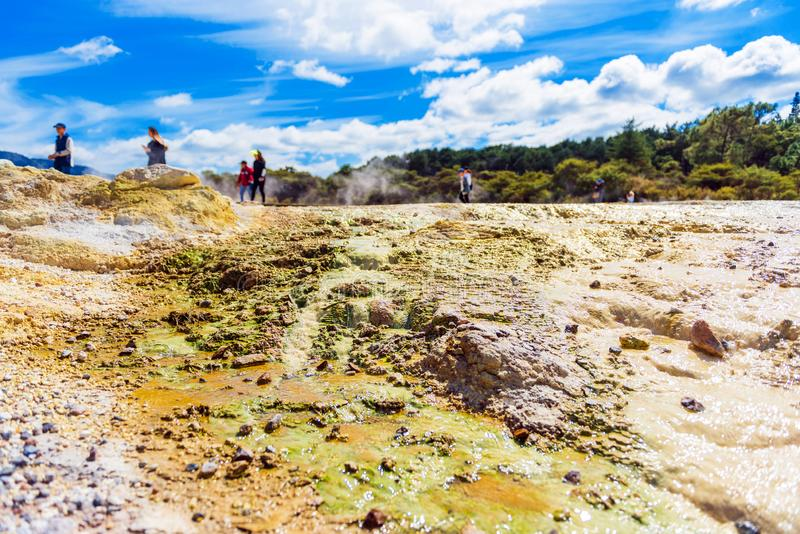 Geothermal pools in Wai-O-Tapu park, Rotorua, New Zealand. With selective focus royalty free stock photo