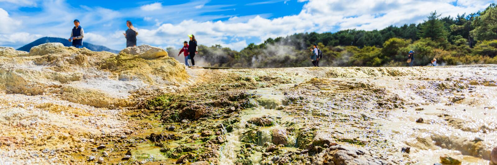 Geothermal pools in Wai-O-Tapu park, Rotorua, New Zealand. With selective focus stock photo