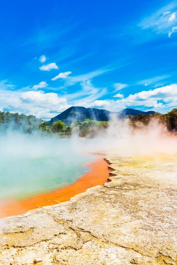 Geothermal pools in Wai-O-Tapu park, Rotorua, New Zealand stock photography