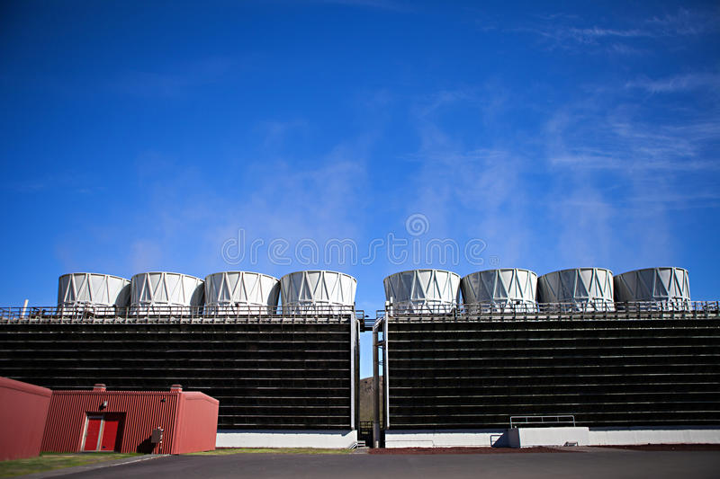 Geothermal Power Cooling Tower stock photos