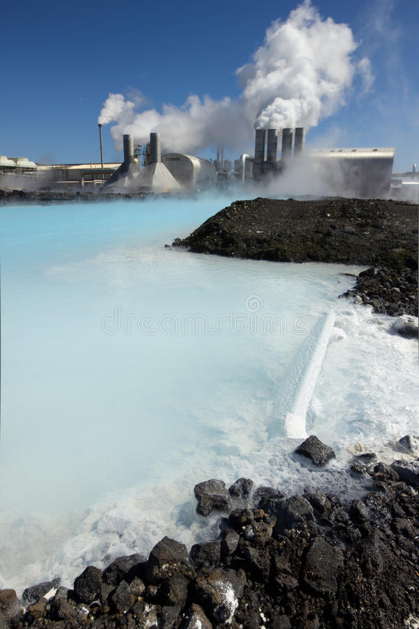 Geothermal Power Plant. Svartsengi geothermal power plant in Iceland. Focus is on the foreground royalty free stock photography