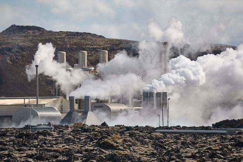 Geothermal power plant stock photo