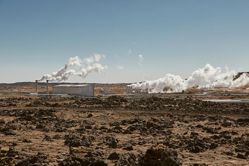 Geothermal power plant royalty free stock images