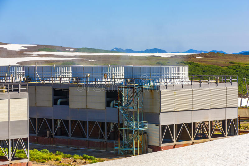 Geothermal power plant on the Mutnovsky volcano stock photos