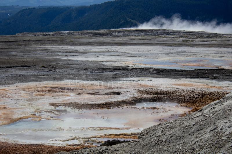 Geothermal springs and volcano pools of Yellowstone National Park royalty free stock photography