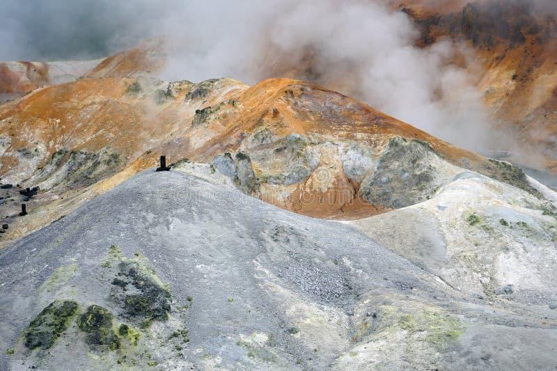 Geothermic Dämpfe in Noboribetsu im Nationalpark Shikotsu-Toya in Hokkaido, Japan lizenzfreie stockfotos