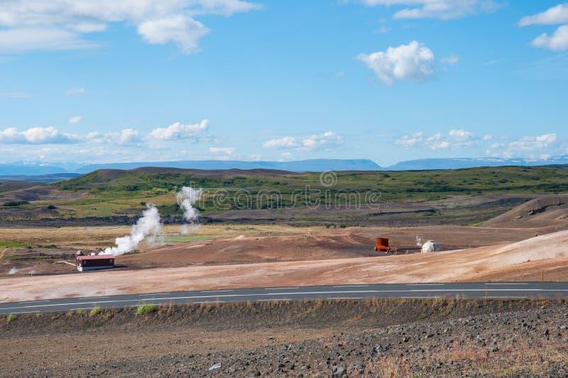 Geothermisch gebied dichtbij meer Myvatn royalty-vrije stock foto