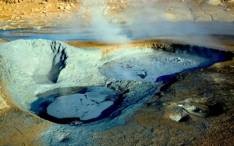 Geothermisch gebied dichtbij Myvatn-meer, IJsland royalty-vrije stock afbeelding