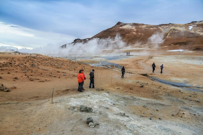 Geothermisch gebied Namafjall Hverir in IJsland royalty-vrije stock foto