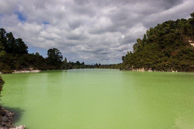 geothermisch gernmeer bij wai-o-tapu, Nieuw Zeeland stock afbeelding
