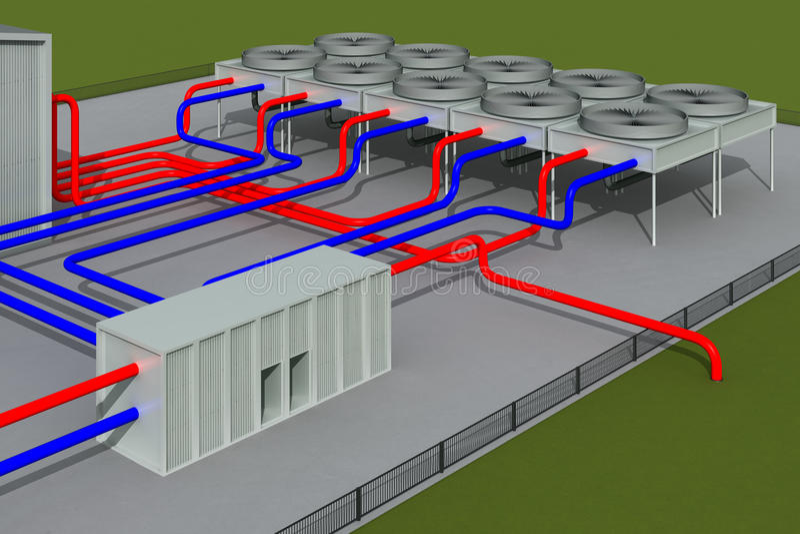 Geothermisch systeem stock illustratie