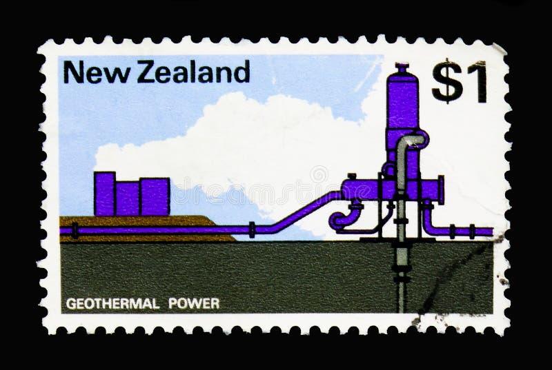 Geothermische Elektrische centrale, Schilderdefinitives serie, circa 1971 royalty-vrije stock fotografie