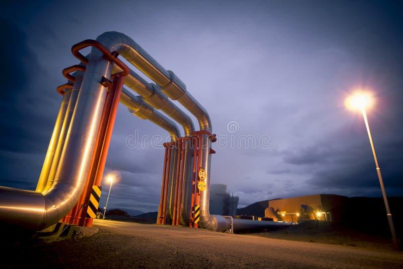 Geothermische energiepijpleiding stock foto