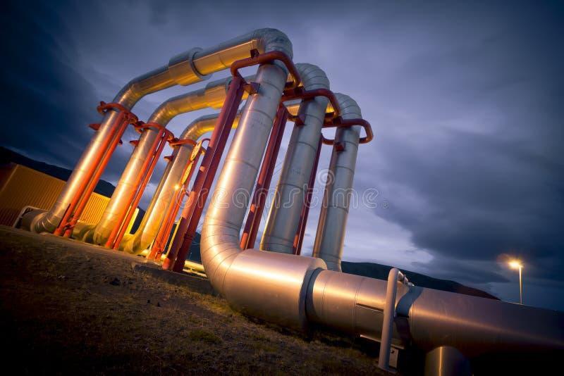 Geothermische energiepijpleiding royalty-vrije stock fotografie