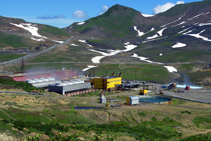Geothermische krachtcentrale royalty-vrije stock foto's