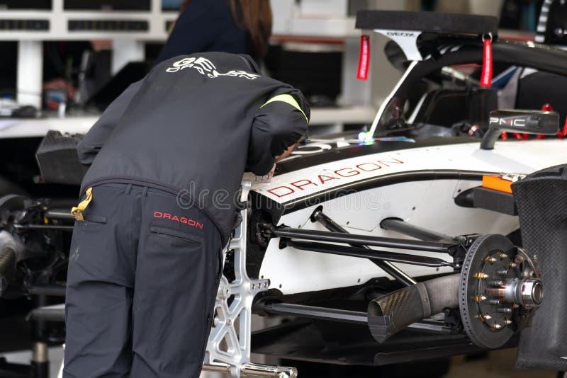 Geox Dragon Formula E team member royalty free stock image