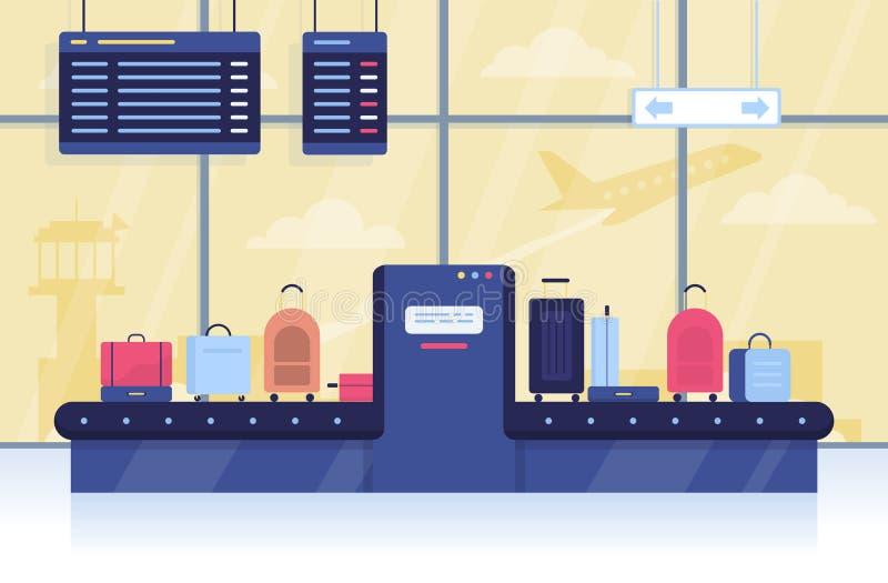 Gepäck auf dem Förderband im Flughafen stock abbildung