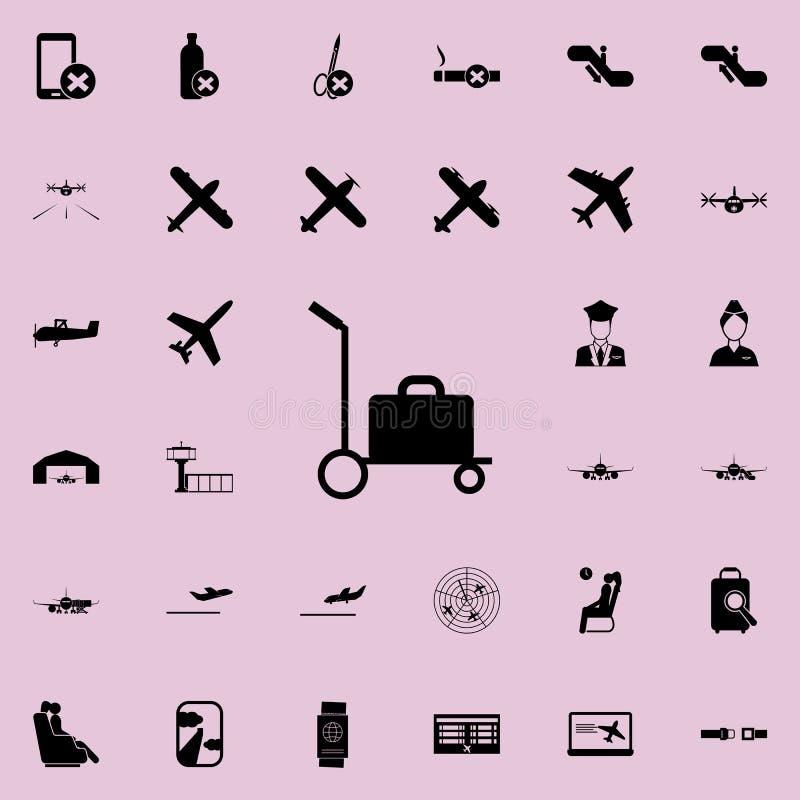 Gepäck auf einer Schubkarreikone Flughafenikonen-Universalsatz für Netz und Mobile stock abbildung