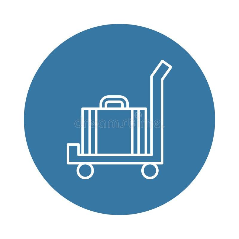 Gepäck auf einer Warenkorbikone Element von Hotelikonen für bewegliche Konzept und Netz apps Ausweisartgepäck auf einer Warenkorb lizenzfreie abbildung
