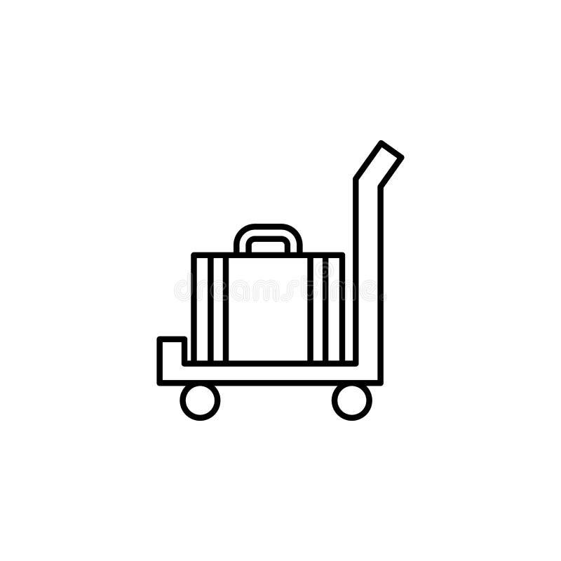 Gepäck auf einer Warenkorbikone Element von otel und von Motels für bewegliche Konzept und Netz apps Dünne Linie Ikone für Websit lizenzfreie abbildung