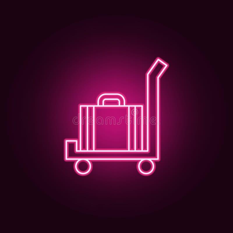 Gepäck auf einer Warenkorbikone Elemente des Hotels in den Neonartikonen Einfache Ikone für Website, Webdesign, mobiler App, Info vektor abbildung