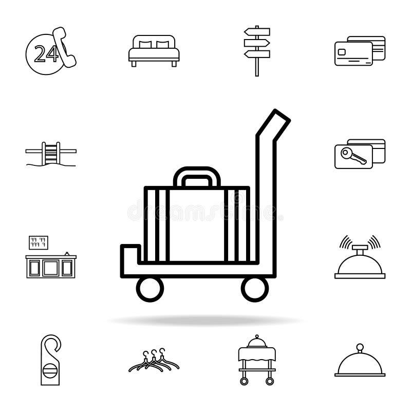 Gepäck auf einer Warenkorbikone Hotelikonen-Universalsatz für Netz und Mobile stock abbildung