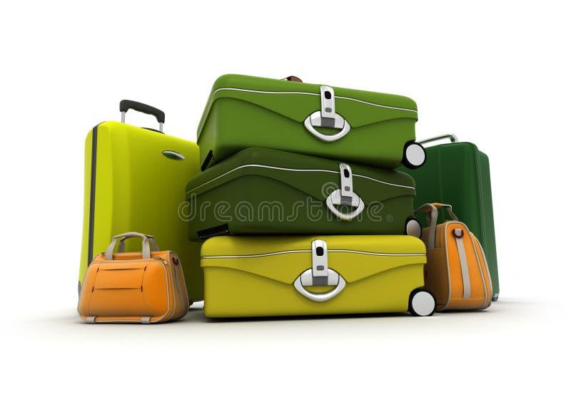 Gepäck eingestellt in die grünen und sauren Farben vektor abbildung
