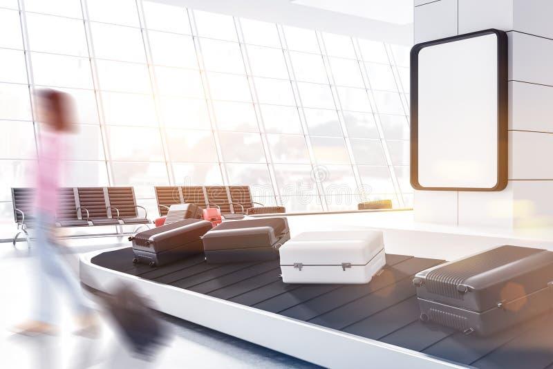 Gepäck im Flughafen, Plakat, Frau vektor abbildung