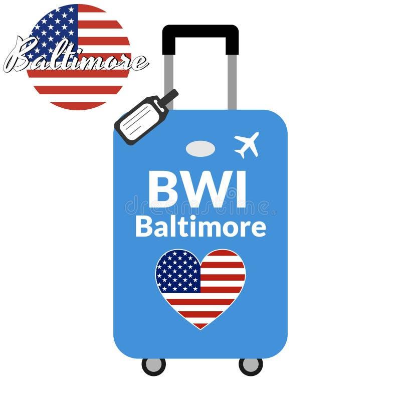 Gepäck mit Stadtnamen Baltimore, BWI des FlughafenMeldetextes IATA oder des Standortidentifizierenden merkmals und -bestimmungsor vektor abbildung
