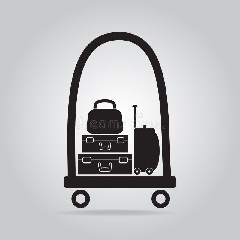 Gepäck- und Warenkorbikone stock abbildung