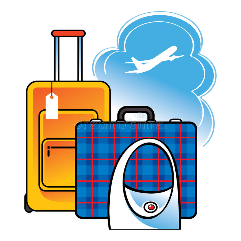 Gepäckkofferbeutel-Flughafenreise vektor abbildung