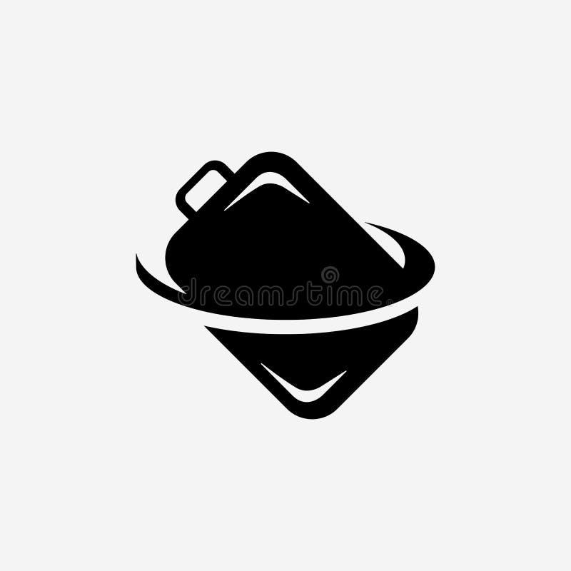 Gepäckvektorikone Emblem lokalisiert auf weißem Hintergrund lizenzfreie abbildung