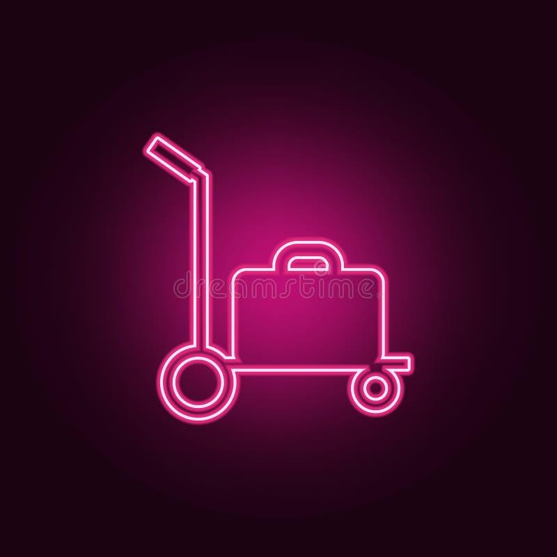 Gep?ck auf einer Schubkarreikone Elemente des Flughafens in den Neonartikonen Einfache Ikone f?r Website, Webdesign, mobiler App, lizenzfreie abbildung