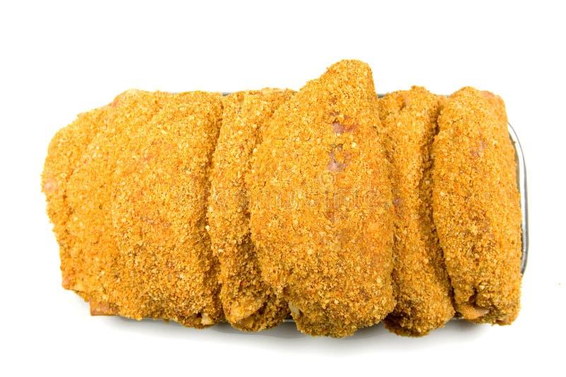 Gepaneerd Vlees Klaar Cook stock afbeeldingen