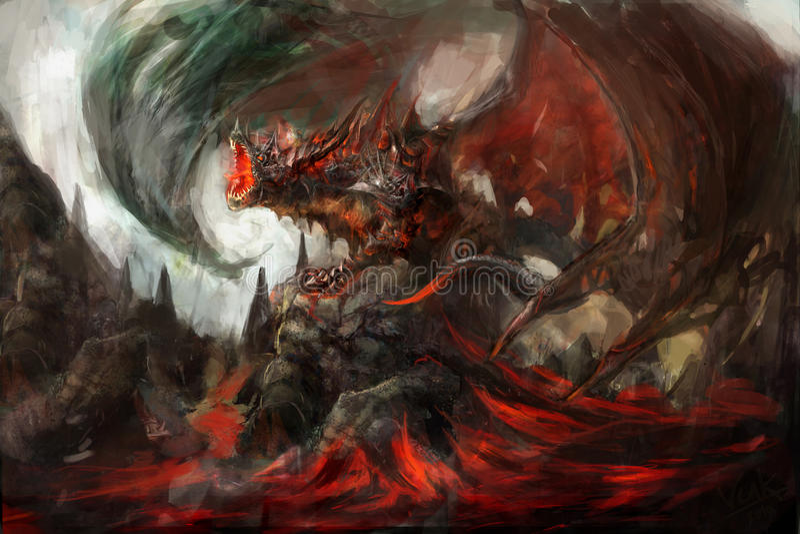 Gepantserde draak royalty-vrije illustratie
