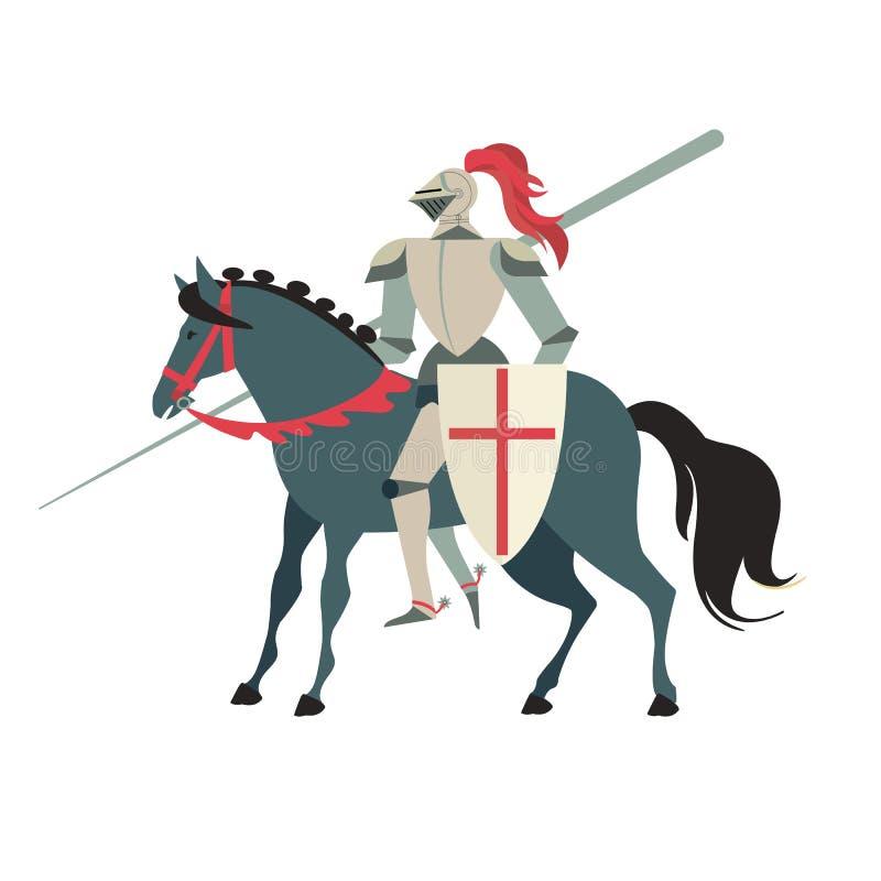 Gepantserde middeleeuwse ridder die op een paard met spear en schild berijden Vlakke die illustratie op witte achtergrond wordt g stock illustratie