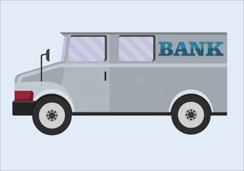 Gepantserde Vrachtwagen Bankwezen, vervoer van kostbaarheden, de inzamelingsdienst stock illustratie