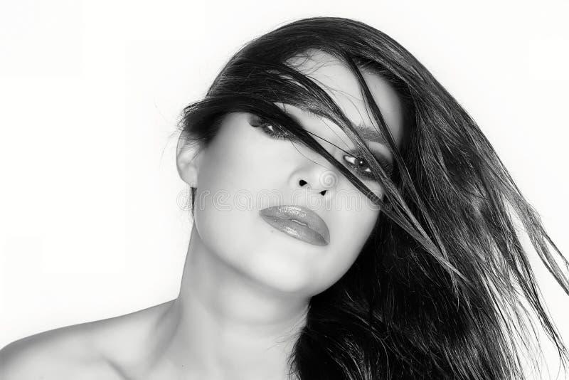 Geparadeerd haar Het Portret van de Manier van de schoonheid hairstyle Zwart-wit Por royalty-vrije stock afbeelding