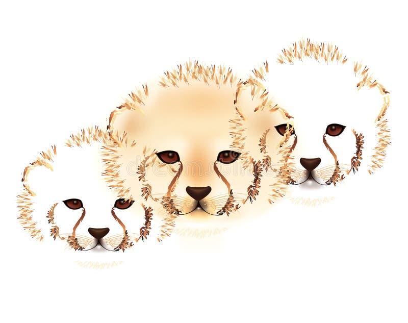 Gepardów lisiątka ilustracja wektor
